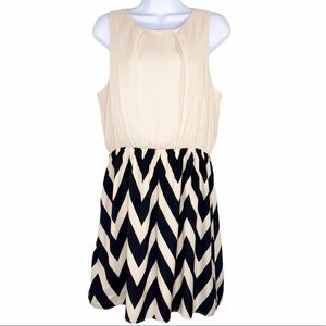 PINK OWL cream black chevron sleeveless dress L